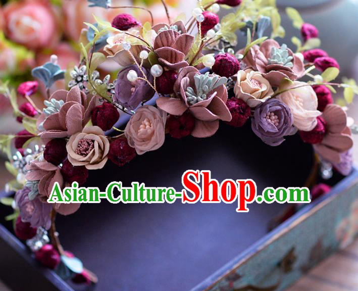 Top Grade Handmade Baroque Hair Accessories Bride Flowers Royal Crown Headwear for Women