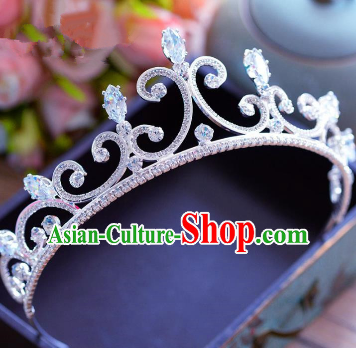 Top Grade Handmade Baroque Crystal Royal Crown Bride Zircon Hair Imperial Crown for Women