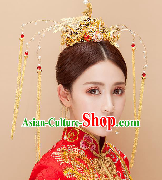 Chinese Ancient Handmade Golden Phoenix Coronet Tassel Hair Clips Traditional Hairpins Hair Accessories Complete Set for Women