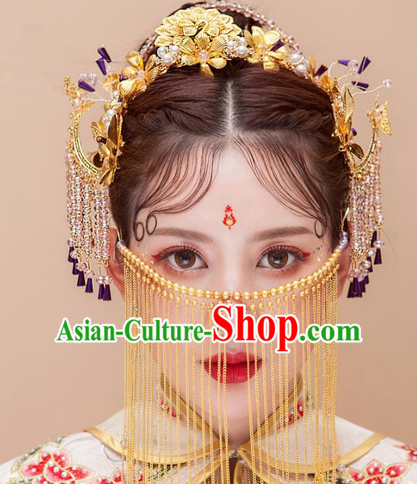 Chinese Ancient Handmade Pearls Phoenix Coronet Tassel Hair Clips Traditional Hairpins Hair Accessories Complete Set for Women