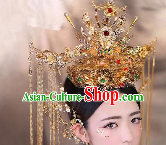 Chinese Ancient Handmade Bride Phoenix Coronet Hair Accessories Traditional Hairpins for Women
