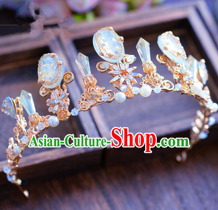 Handmade Hair Jewelry Accessories Baroque Royal Crown Crystal Imperial Crown for Women