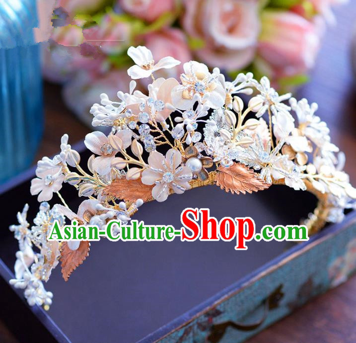 Handmade Hair Jewelry Accessories Baroque Flowers Royal Crown Bride Imperial Crown for Women