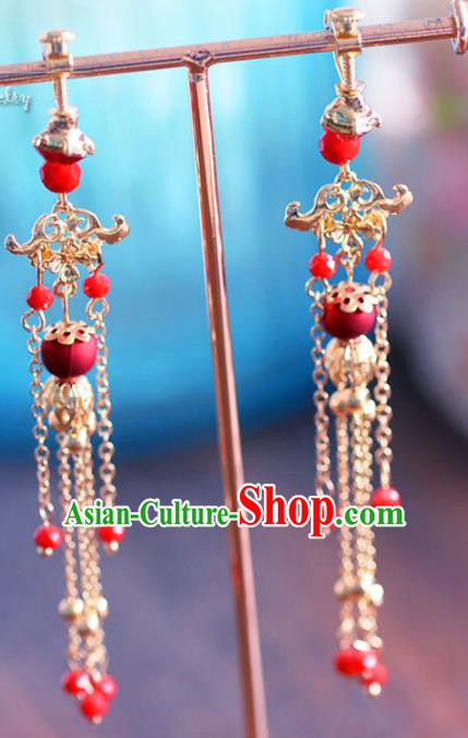 Top Grade Handmade Jewelry Accessories Chinese Ancient Bride Tassel Earrings for Women