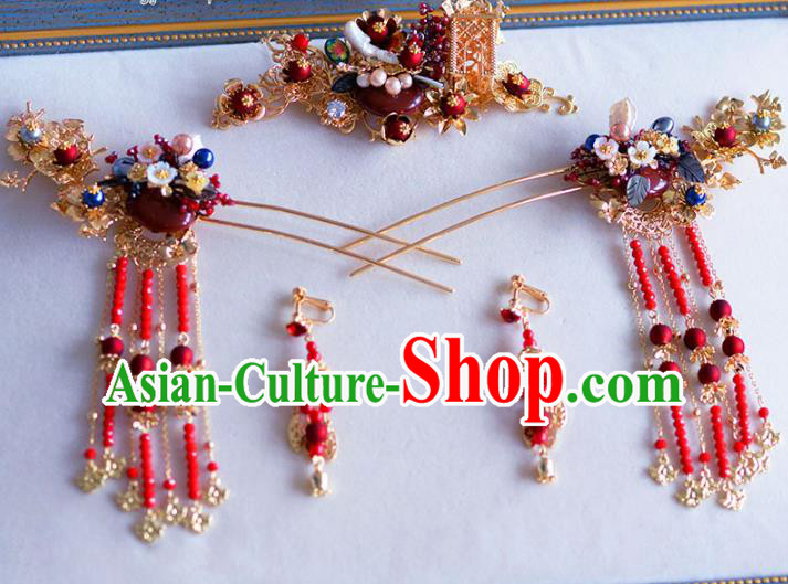 Chinese Ancient Handmade Palace Jade Tassel Step Shake Hair Accessories Traditional Hairpins Complete Set for Women