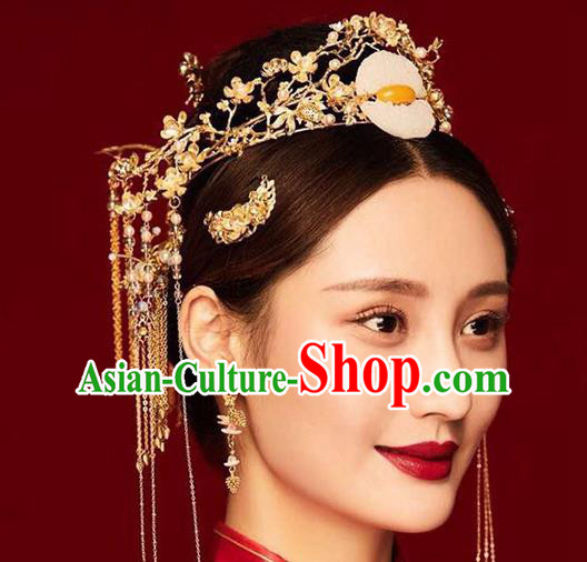 Chinese Ancient Handmade Palace Jade Phoenix Coronet Hair Accessories Traditional Hairpins Complete Set for Women