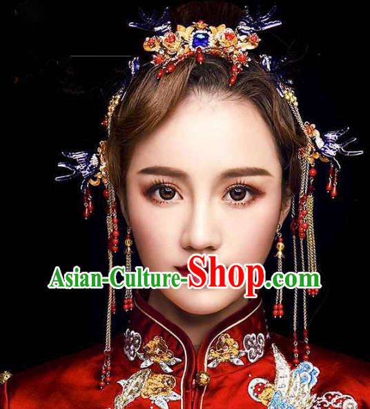 Chinese Ancient Handmade Palace Hair Accessories Cloisonne Tassel Hair Clips Traditional Hairpins Complete Set for Women