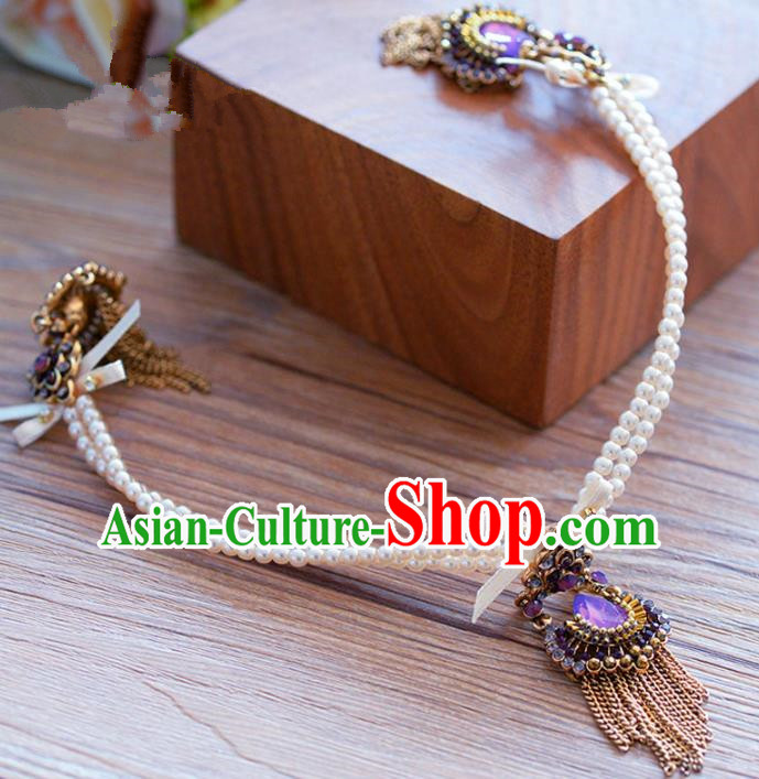 Top Grade Handmade Baroque Hair Accessories Bride Pearls Hair Clasp Headwear for Women