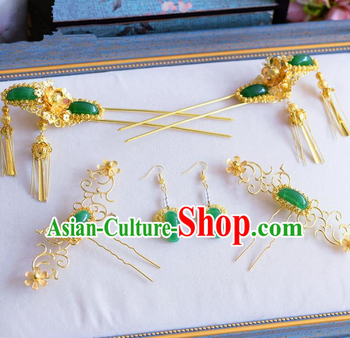 Chinese Ancient Handmade Palace Jade Hair Clips Traditional Hair Accessories Xiuhe Suit Hairpins for Women