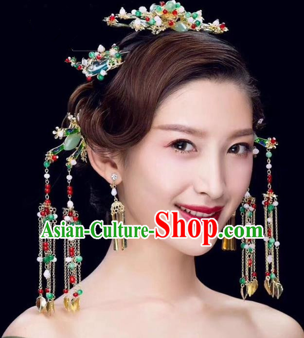 Chinese Ancient Handmade Jade Phoenix Coronet Traditional Hair Accessories Xiuhe Suit Hairpins for Women