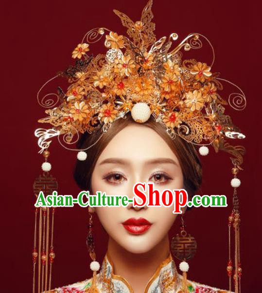 Ancient Chinese Handmade Golden Butterfly Phoenix Coronet Traditional Hair Accessories Xiuhe Suit Hairpins for Women