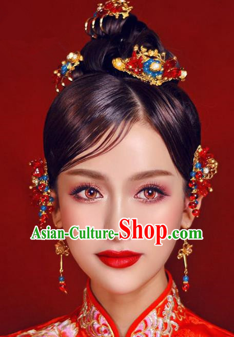Ancient Chinese Handmade Traditional Hair Accessories Hair Stick Hairpins Complete Set for Women