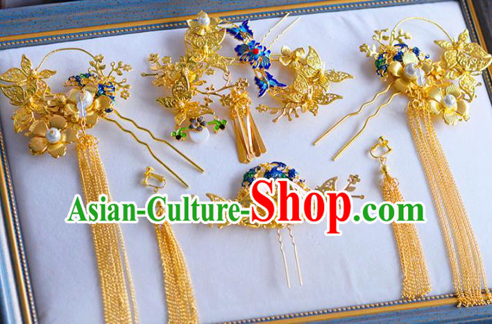 Ancient Chinese Handmade Traditional Hair Accessories Hairpins Blueing Lotus Hair Clips for Women