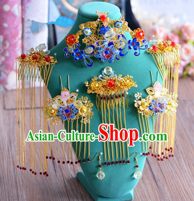 Ancient Chinese Handmade Traditional Hair Accessories Hairpins Blueing Phoenix Coronet Complete Set for Women