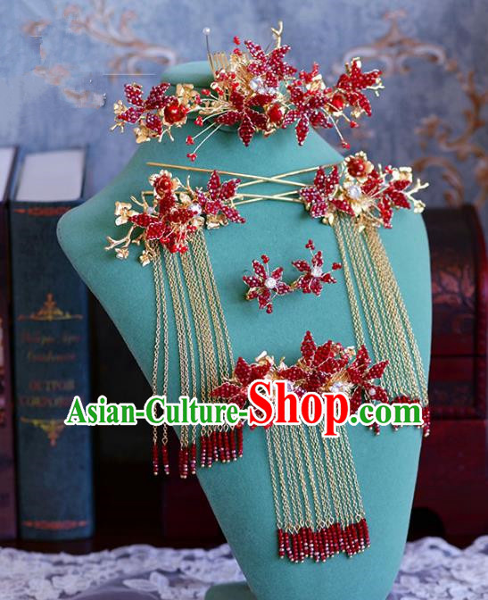Ancient Chinese Handmade Hair Accessories Xiuhe Suit Red Beads Hair Comb Hairpins Complete Set for Women