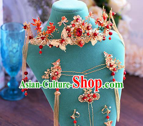 Ancient Chinese Handmade Hair Accessories Xiuhe Suit Bride Hair Clasp Hairpins Complete Set for Women