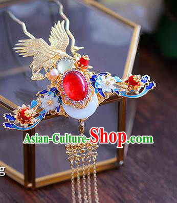 Ancient Chinese Handmade Hair Accessories Xiuhe Suit Hair Clip Blueing Phoenix Hairpins for Women