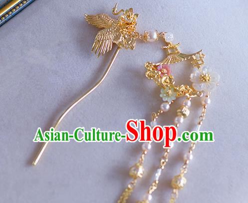 Ancient Chinese Handmade Hair Accessories Xiuhe Suit Hair Clip Golden Phoenix Hairpins for Women