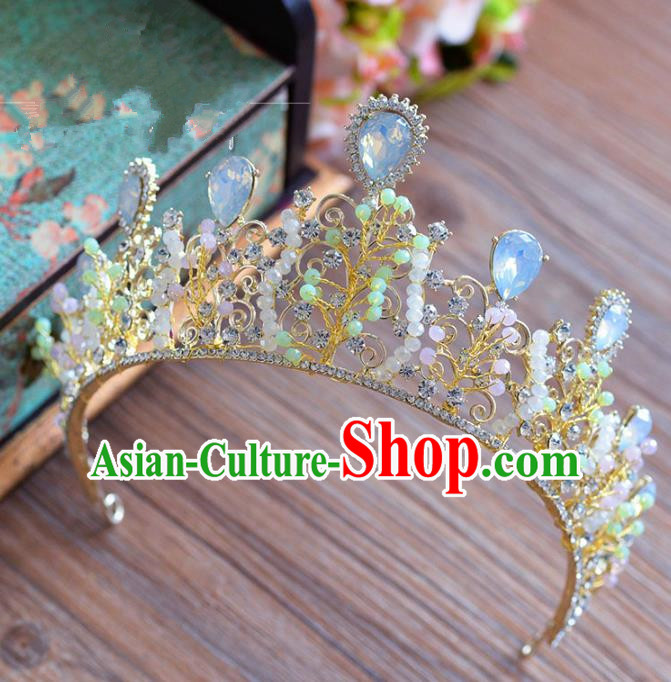 Top Grade Handmade Hair Accessories Crystal Hair Clasp Baroque Beads Royal Crown Headwear for Women