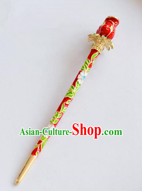 Ancient Chinese Handmade Classical Hair Accessories Xiuhe Suit Cloisonne Red Hairpins for Women