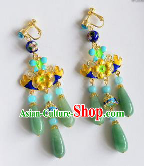 Top Grade Chinese Handmade Wedding Cloisonne Jade Earrings Accessories Bride Eardrop for Women