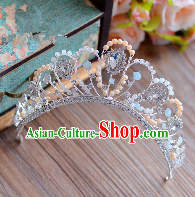 Top Grade Handmade Hair Accessories Baroque Crystal Pearls Royal Crown Headwear for Women