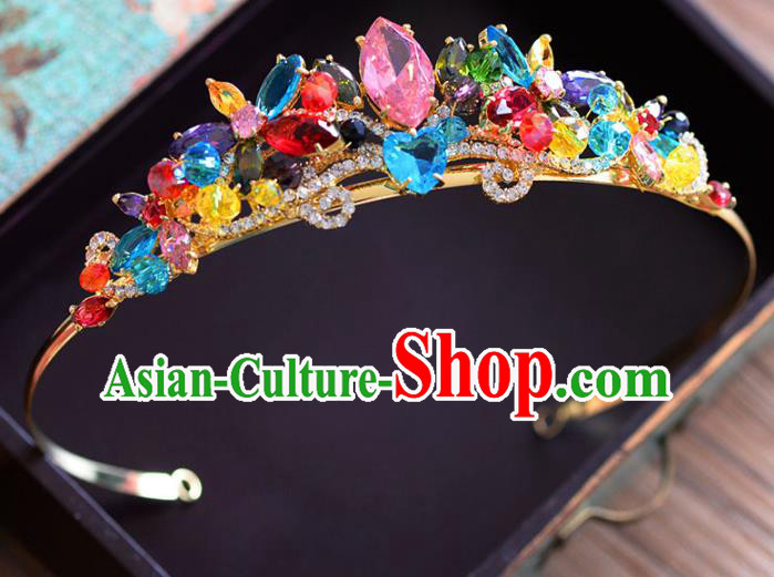 Top Grade Handmade Hair Accessories Baroque Colorful Crystal Royal Crown Headwear for Women