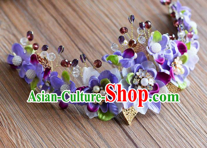 Top Grade Handmade Hair Accessories Baroque Purple Flowers Garland Royal Crown Headwear for Women