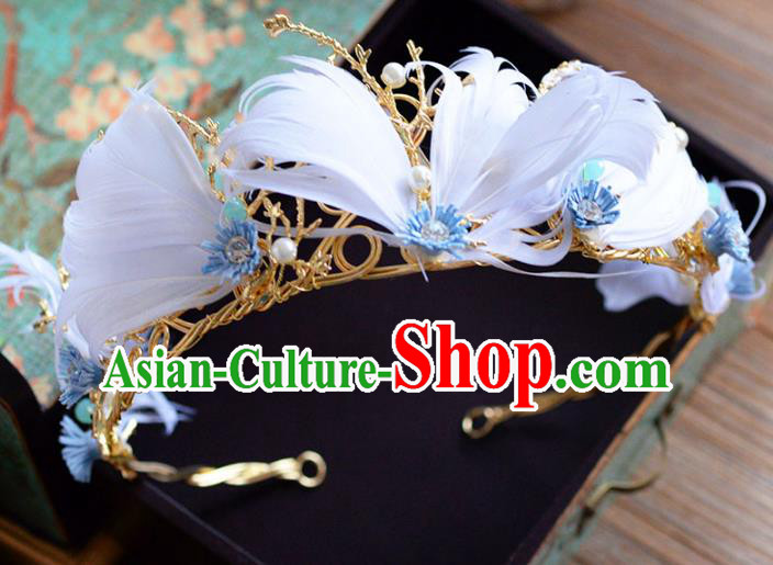 Top Grade Handmade Hair Accessories Baroque White Feather Royal Crown Headwear for Women