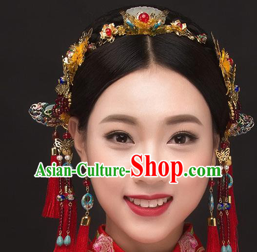 Ancient Chinese Handmade Classical Hair Accessories Palace Red Tassel Phoenix Coronet Jade Hairpins Complete Set for Women
