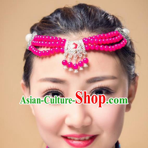 Traditional Chinese Mongol Nationality Dance Hair Accessories, Mongolian Minority Rosy Beads Tassel Headwear for Women