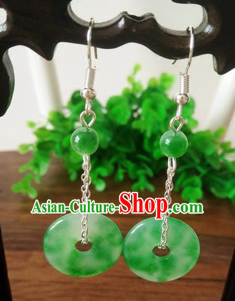 Top Grade Chinese Handmade Wedding Accessories Hanfu Palace Jade Earrings for Women