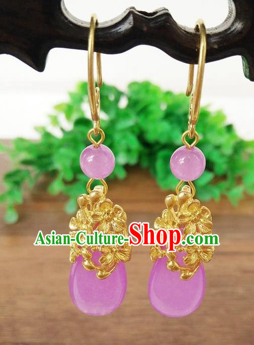 Top Grade Chinese Handmade Wedding Accessories Hanfu Palace Purple Jade Brass Earrings for Women