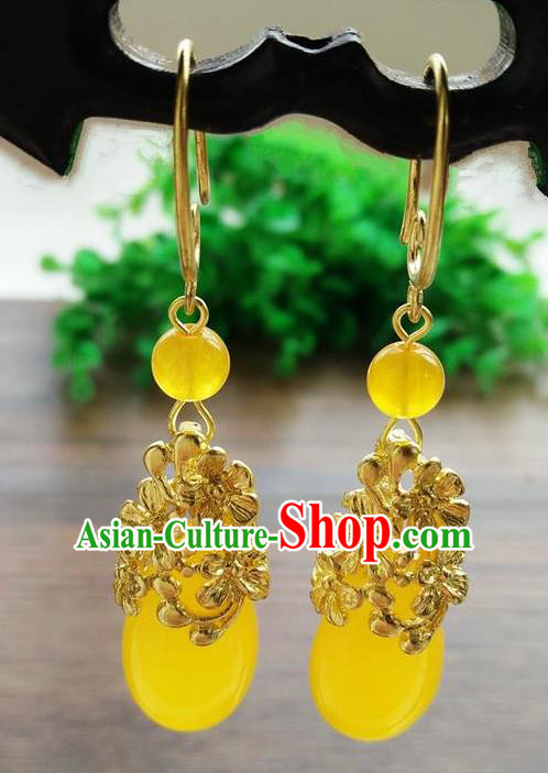Top Grade Chinese Handmade Wedding Accessories Hanfu Palace Turmeric Jade Brass Earrings for Women