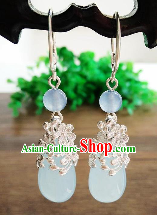 Top Grade Chinese Handmade Wedding Accessories Hanfu Palace Blue Jade Brass Earrings for Women