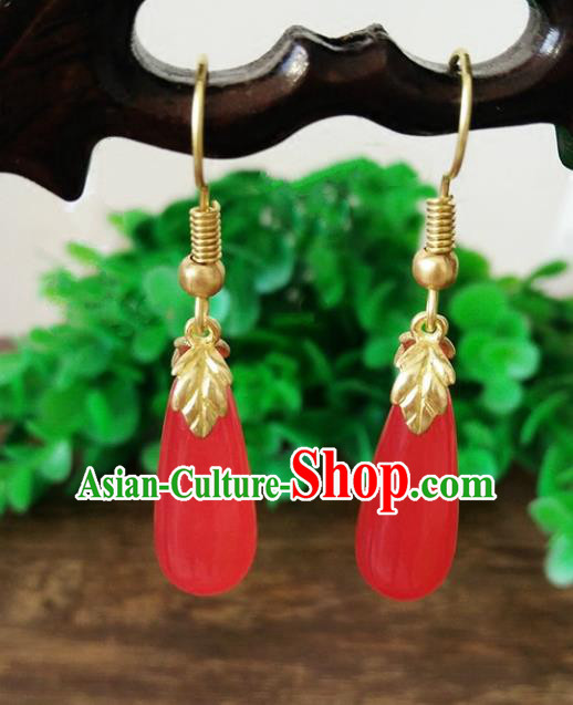 Top Grade Chinese Handmade Wedding Accessories Red Agate Eardrop Hanfu Earrings for Women