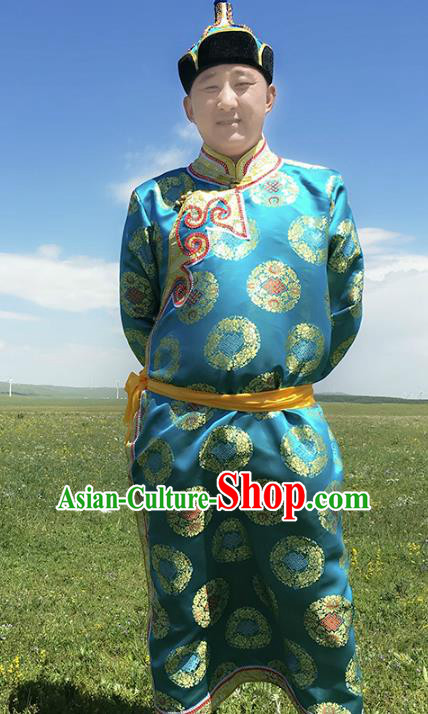 Traditional Chinese Mongol Nationality Costume Blue Mongolian Robe, Mongolian Folk Dance Clothing for Men