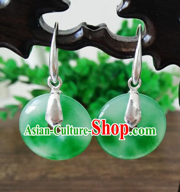 Top Grade Chinese Handmade Wedding Accessories Jade Eardrop Hanfu Golden Earrings for Women
