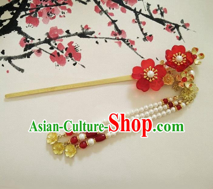 Ancient Chinese Handmade Hair Accessories Classical Pearls Tassel Step Shake Hairpins for Women