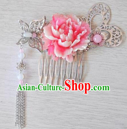 Ancient Chinese Handmade Hair Accessories Classical Flowers Hair Comb Hairpins for Women