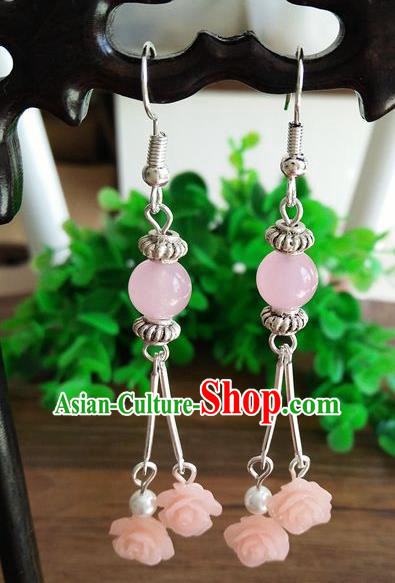 Top Grade Chinese Handmade Accessories Eardrop Wedding Hanfu Pink Beads Earrings for Women