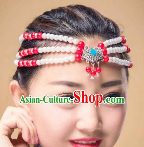 Traditional Chinese Mongol Nationality Handmade Hair Accessories, Mongolian Minority Beads Headwear for Women