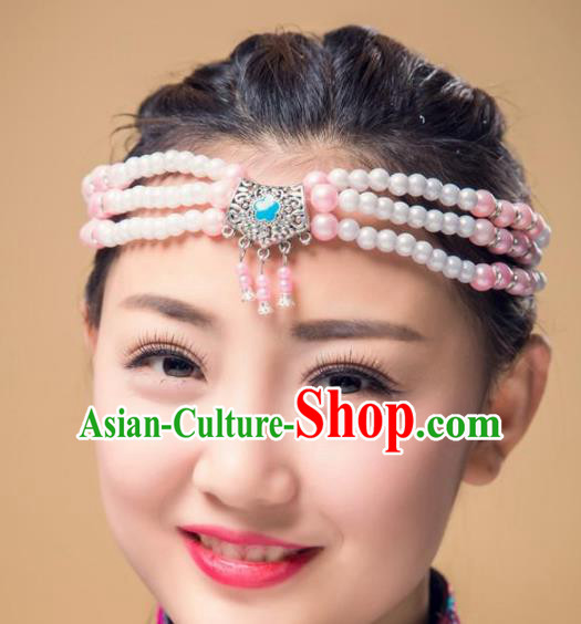 Traditional Chinese Mongol Nationality Handmade Hair Accessories, Mongolian Minority Pink Beads Headwear for Women