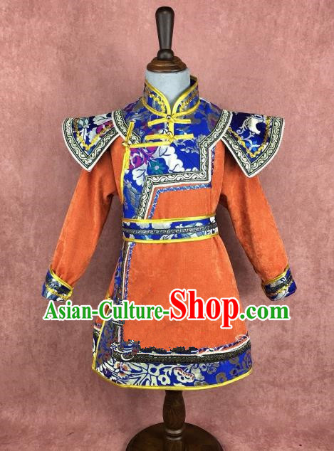 Traditional Chinese Mongol Nationality Costume Children Mongolian Robe, Mongolian Folk Dance Clothing for Kids