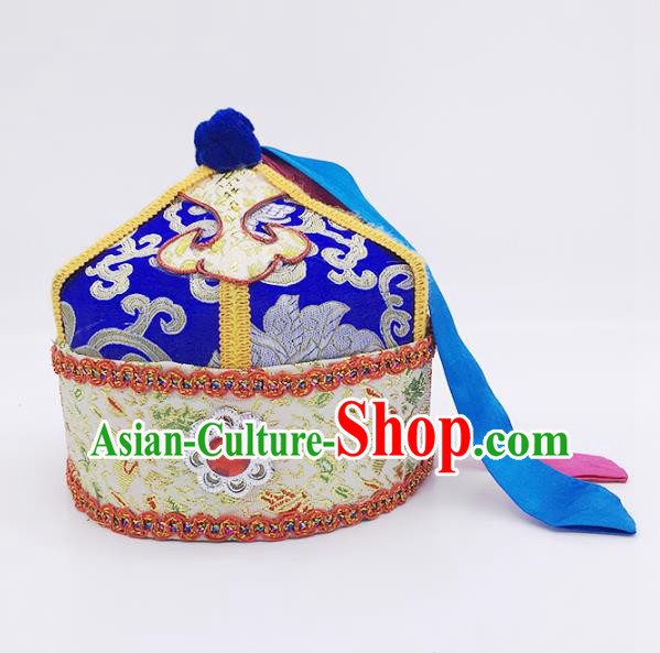 Traditional Chinese Mongol Nationality Prince Handmade Hair Accessories, Mongolian Minority Royalblue Hats for Kids
