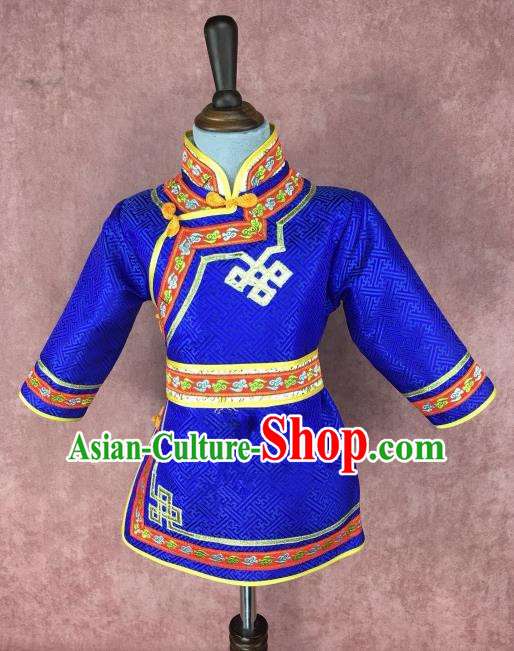 Traditional Chinese Mongol Nationality Costume Children Royalblue Mongolian Robe, Mongolian Folk Dance Clothing for Kids