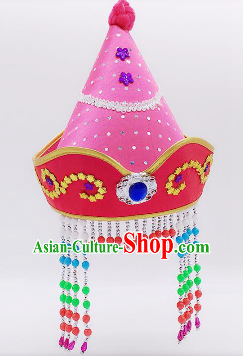 Traditional Chinese Mongol Nationality Princess Hair Accessories, Mongolian Minority Pink Hats for Kids