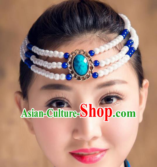 Traditional Chinese Mongol Nationality Dance Hair Accessories, Handmade Mongolian Minority White Beads Hair Clasp Headwear for Women