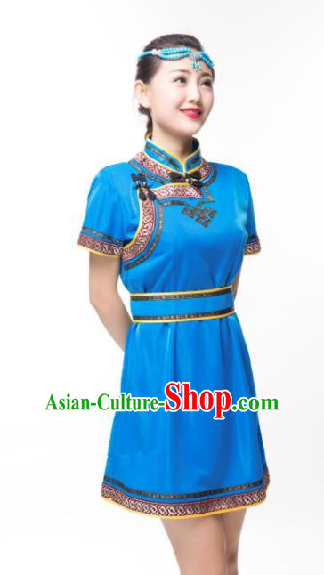 Traditional Chinese Mongol Nationality Costume Blue Dress, Mongolian Folk Dance Clothing for Women