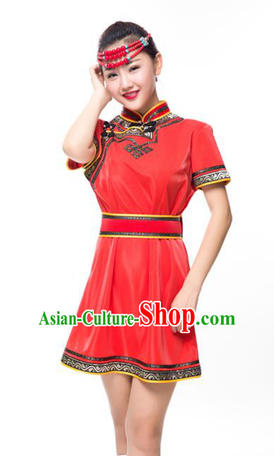 Traditional Chinese Mongol Nationality Costume Red Dress, Mongolian Folk Dance Clothing for Women